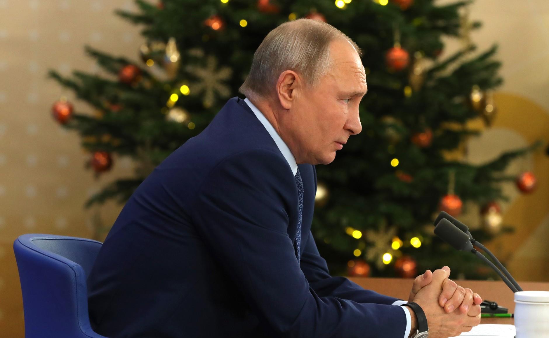 RUSSIE 17.12.2020.CONFERENCE 61 XX 66 Avant le début de la conférence de presse annuelle de Vladimir Poutine.