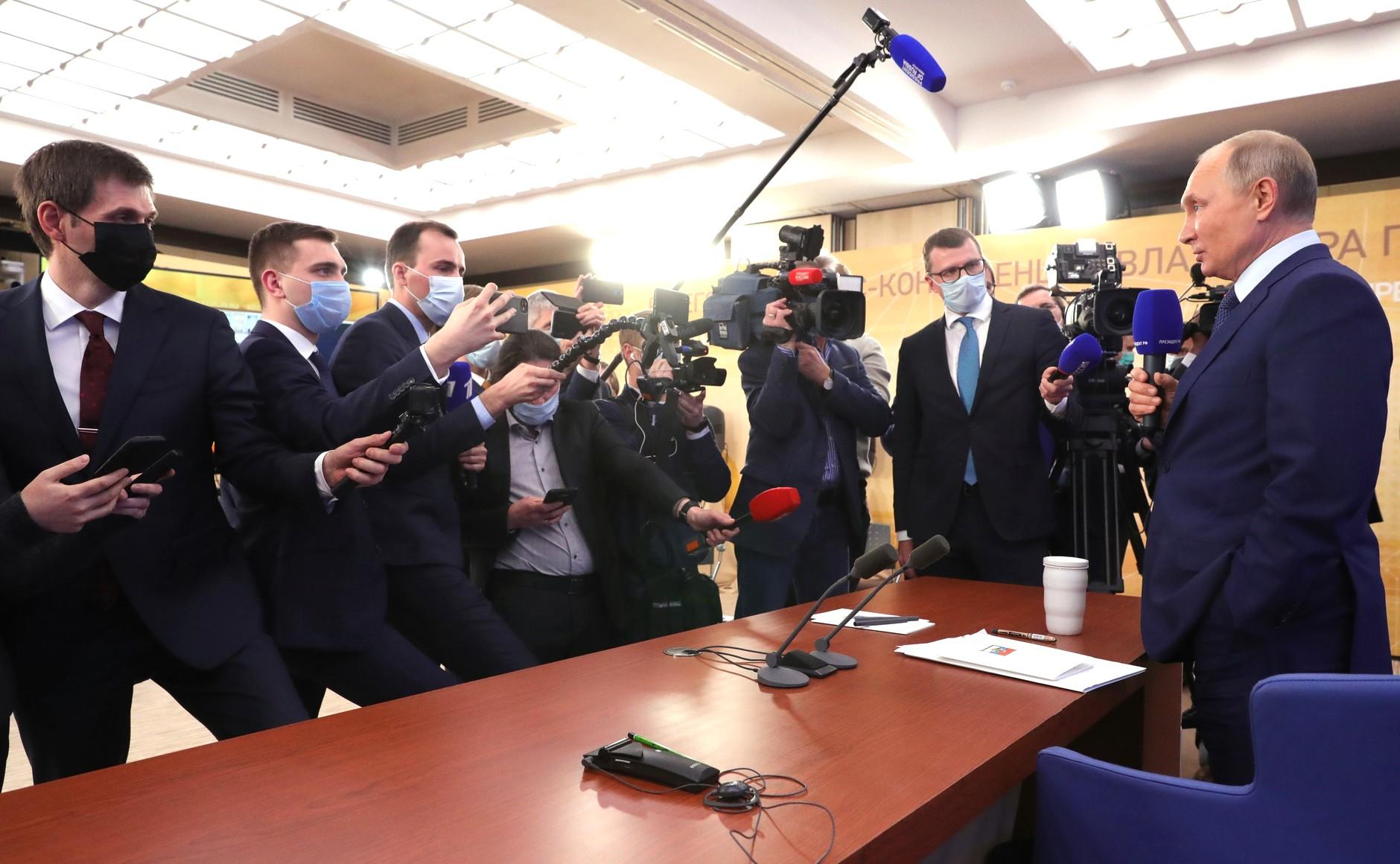 RUSSIE 17.12.2020.CONFERENCE 64 XX 66 Avant le début de la conférence de presse annuelle de Vladimir Poutine.
