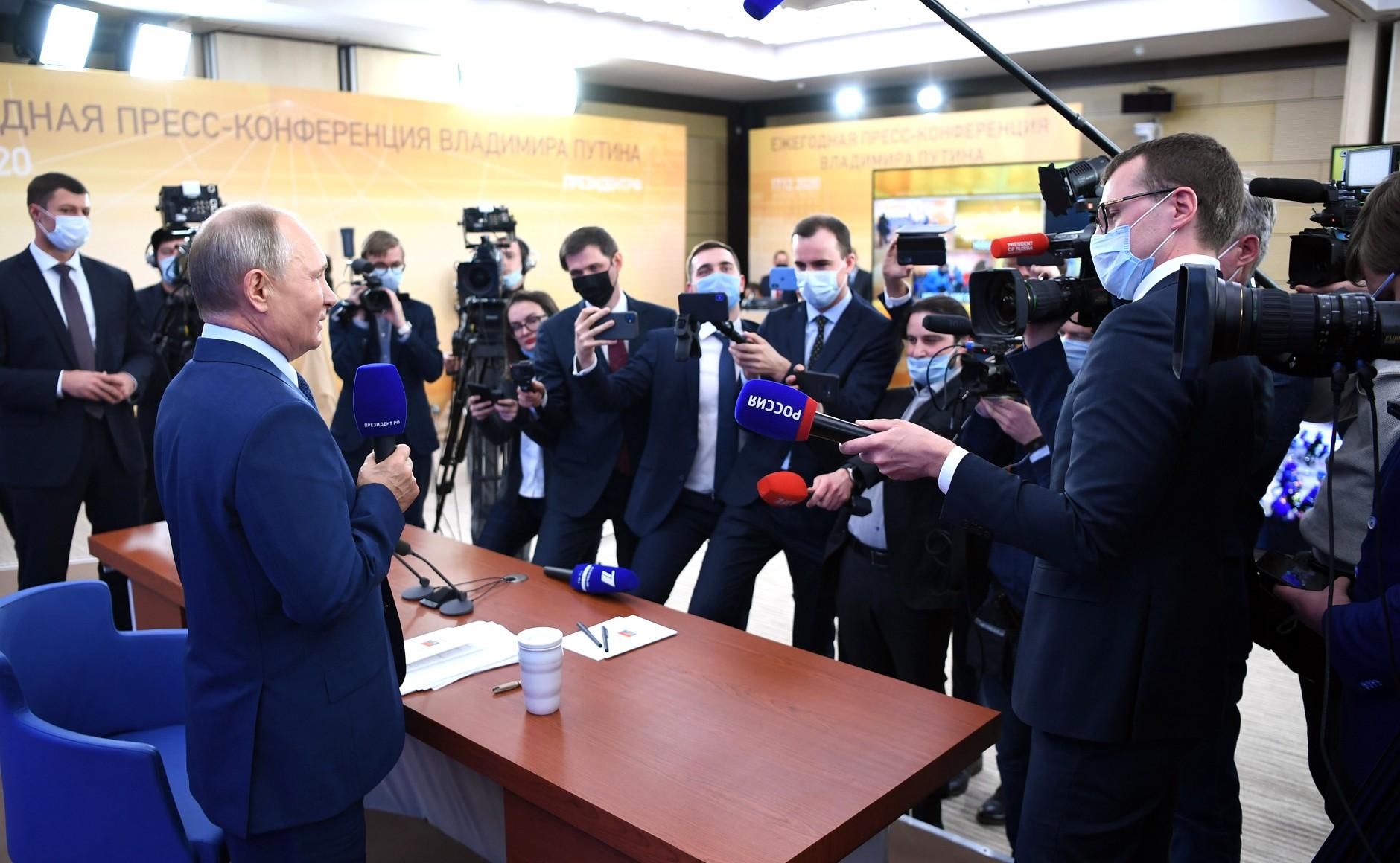 RUSSIE 17.12.2020.CONFERENCE 65 XX 66 Avant le début de la conférence de presse annuelle de Vladimir Poutine.