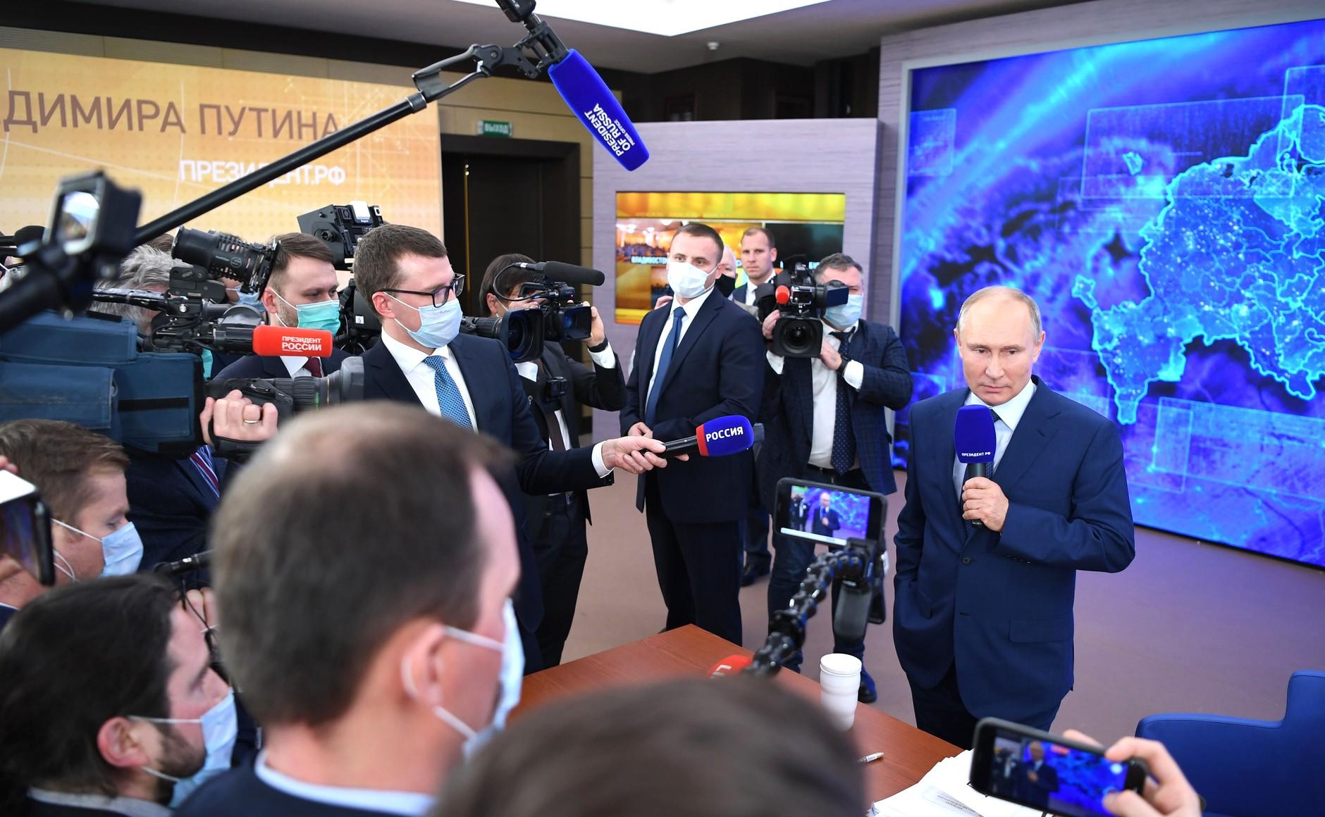 RUSSIE 17.12.2020.CONFERENCE 66 XX 66 Avant le début de la conférence de presse annuelle de Vladimir Poutine.