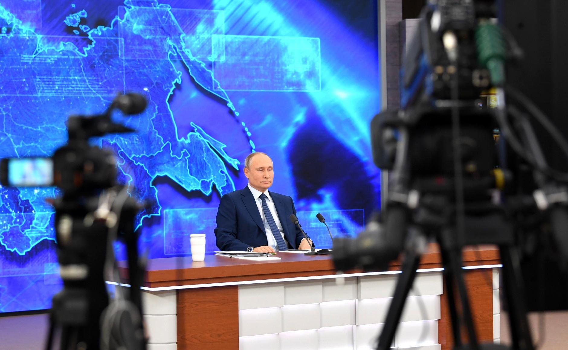 RUSSIE 17.12.2020.CONFERENCE 7 XX 66 Avant le début de la conférence de presse annuelle de Vladimir Poutine.