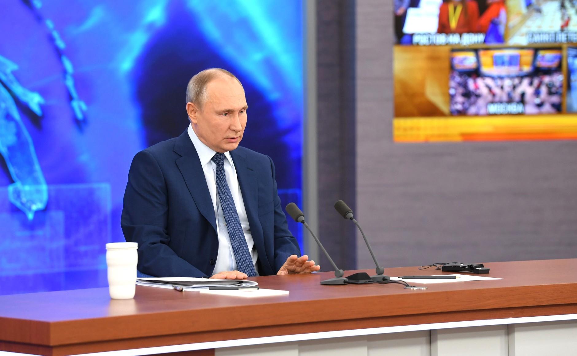 RUSSIE 17.12.2020.CONFERENCE 9 XX 66 Avant le début de la conférence de presse annuelle de Vladimir Poutine.