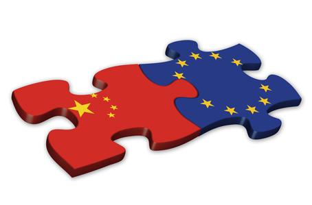 EU & Chinese Flags (China European politics debt)