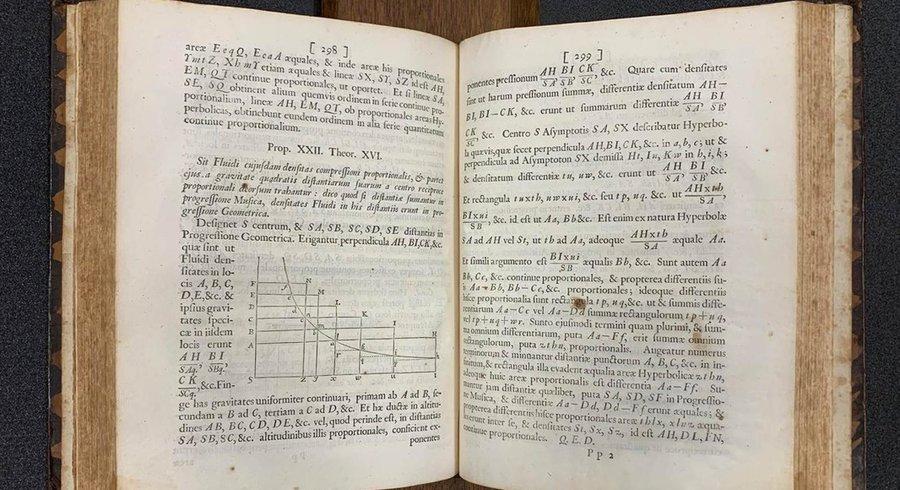 Un exemplaire de la première édition de «Principia», d'Isaac Newton, au Caltech. — © Caltech Archives
