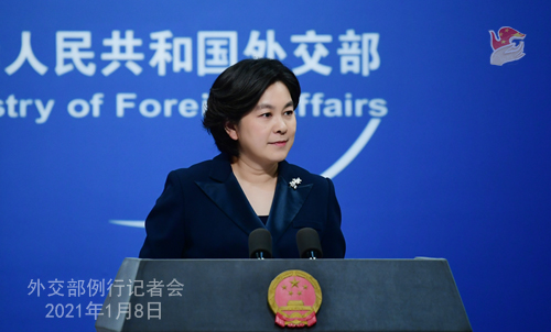 CHINE 6 XX 10 Conférence de presse du 8 janvier 2021 tenue par la porte-parole du Ministère des Affaires étrangères Hua Chunying
