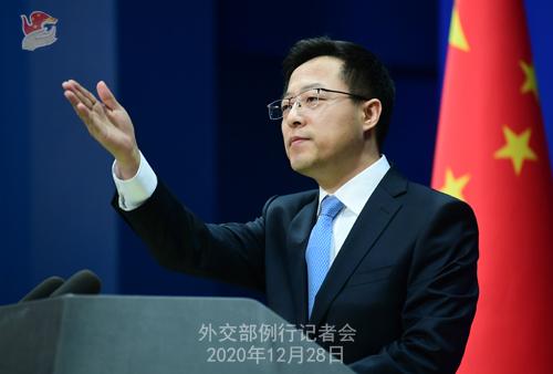 CHINE N° 10 DU 28.12.2020 Conférence de presse du 28 décembre 2020 tenue par le porte-parole du Ministère des Affaires étrangères Zhao Lijian