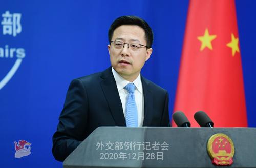 CHINE N° 11 DU 28.12.2020 Conférence de presse du 28 décembre 2020 tenue par le porte-parole du Ministère des Affaires étrangères Zhao Lijian