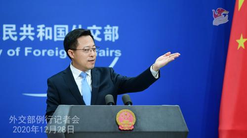 CHINE N° 12 DU 28.12.2020 Conférence de presse du 28 décembre 2020 tenue par le porte-parole du Ministère des Affaires étrangères Zhao Lijian