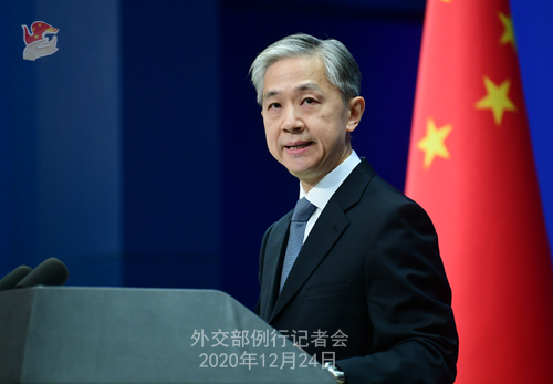 CHINE N° 3 DU 24.12.2020 Conférence de presse du 24 décembre 2020 tenue par le porte-parole du Ministère des Affaires étrangères Wang Wenbin