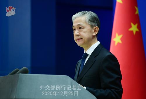 CHINE N° 7 DU 25.12.2020 Conférence de presse du 25 décembre 2020 tenue par le porte-parole du Ministère des Affaires étrangères Wang Wenbin
