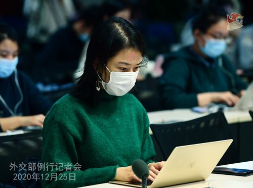 CHINE N° 8 DU 25.12.2020 Conférence de presse du 25 décembre 2020 tenue par le porte-parole du Ministère des Affaires étrangères Wang Wenbin