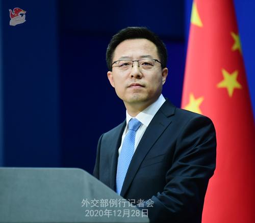 CHINE N° 9 DU 28.12.2020 Conférence de presse du 28 décembre 2020 tenue par le porte-parole du Ministère des Affaires étrangères Zhao Lijian