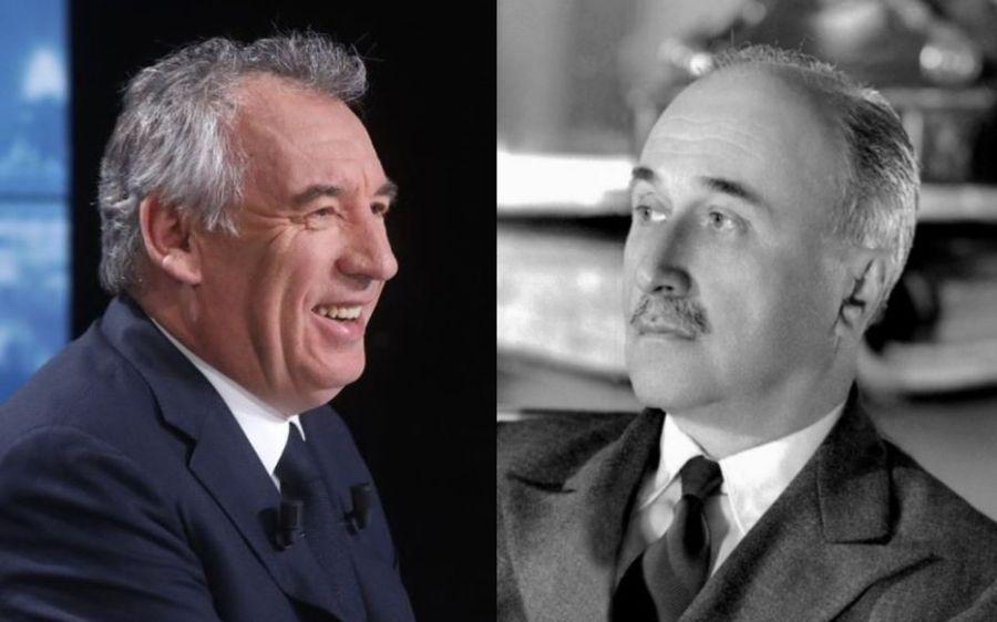 François Bayrou (G) pourrait prendre ce poste occupé pour la première fois par Jean Monnet (D), au sortir de la Seconde Guerre mondiale. Delphine Goldsztejn (LP) AFP