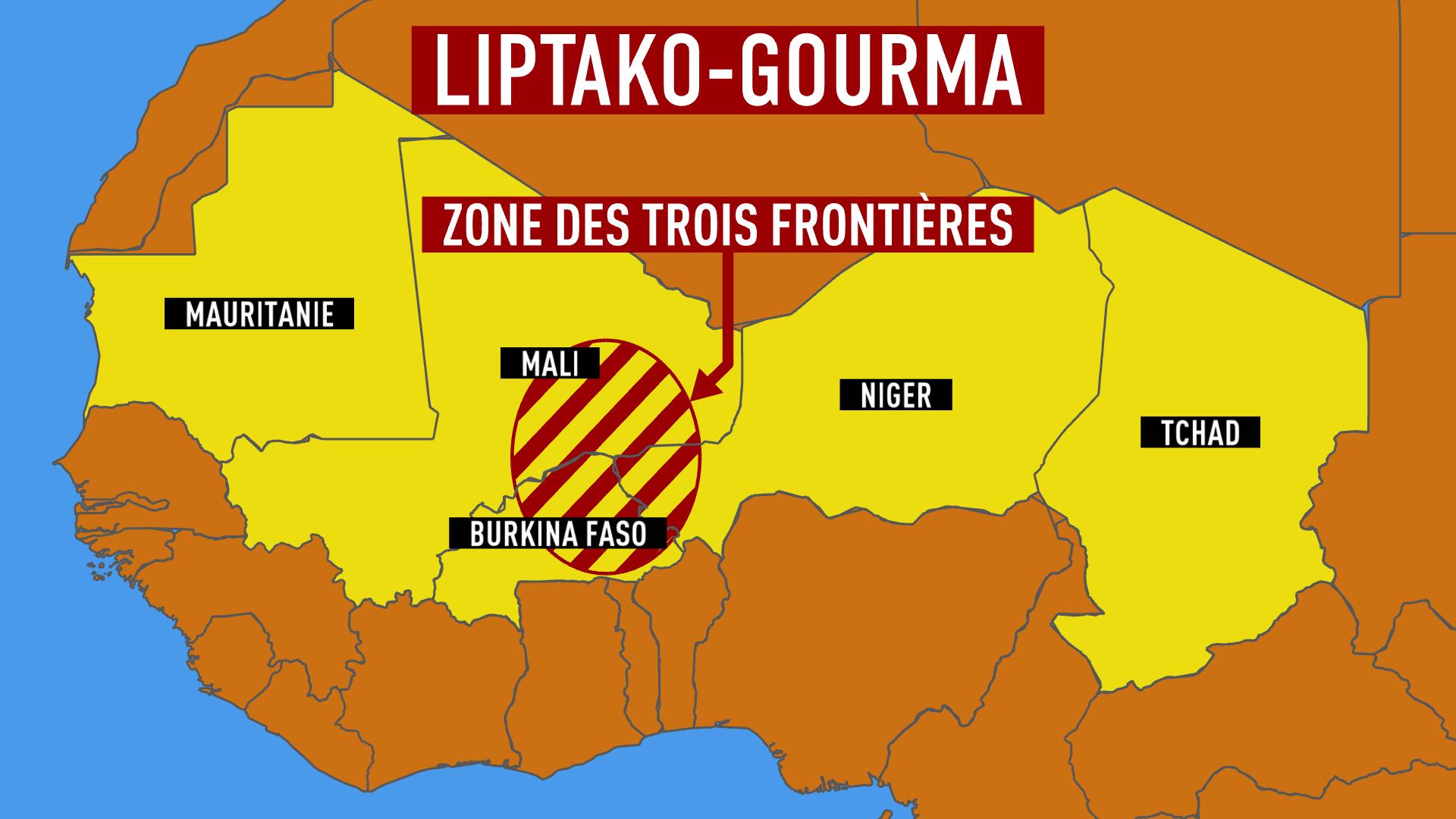 La bande sahélo-saharienne où opère Barkhane, au centre la zone du Liptako malien, également appelée région des trois frontières.