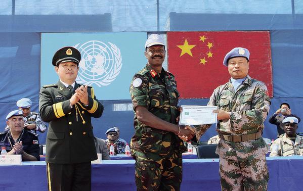 le sixième bataillon d'infanterie chinois de maintien de la paix au Soudan du Sud (Juba)