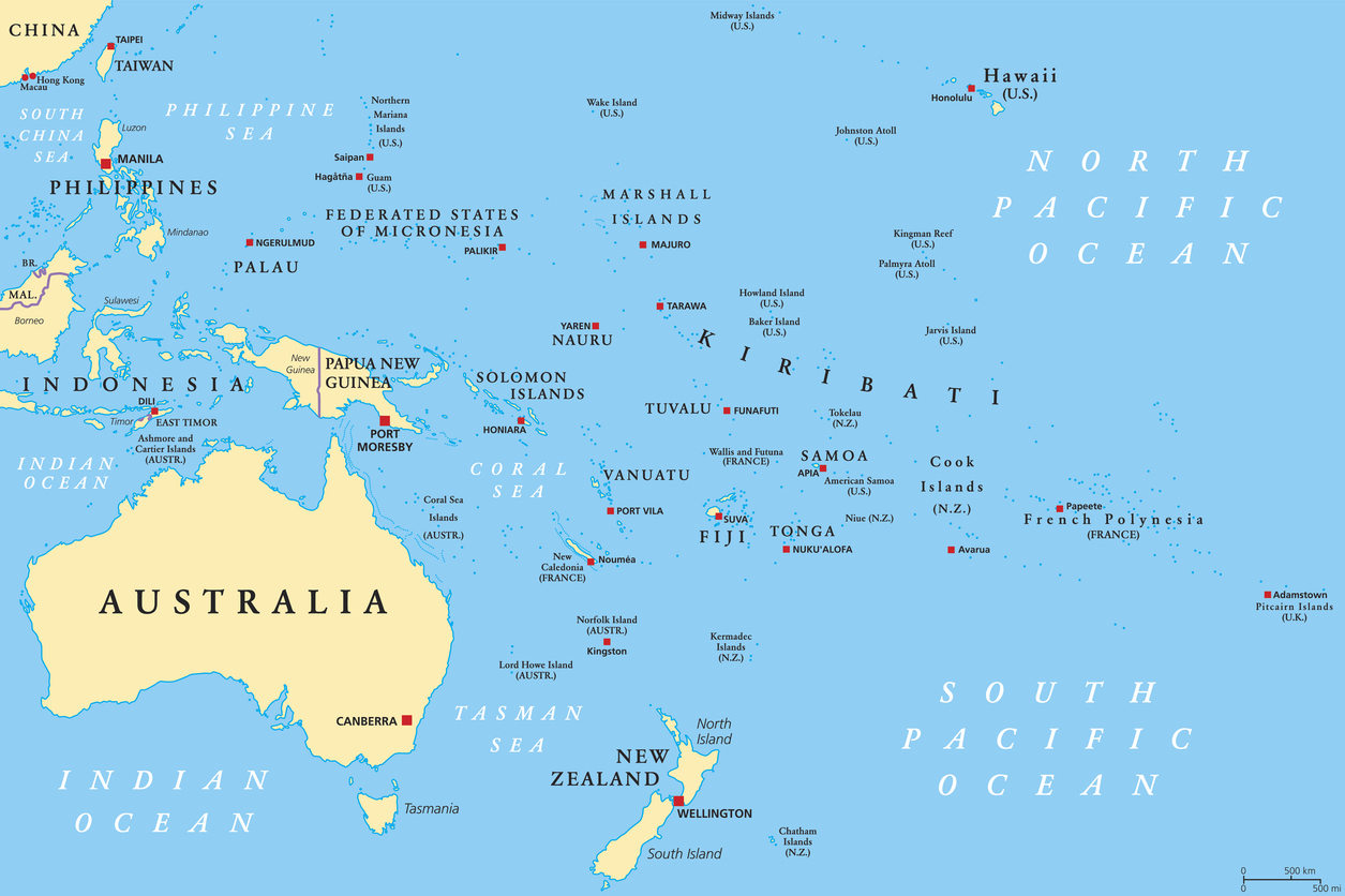 Oceania political map
