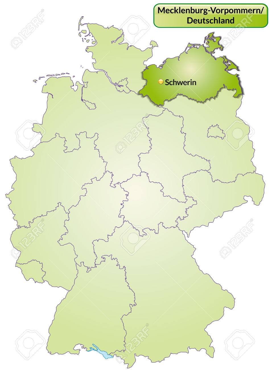 Map of Mecklenburg-Western Pomerania with main cities in green