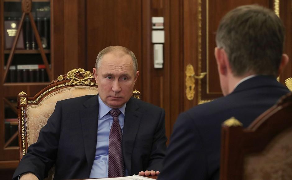 4FEV21 KREMLIN 2 XX 4 Réunion de travail avec le ministre du Développement économique Maxim Reshetnikov 4 février 2021