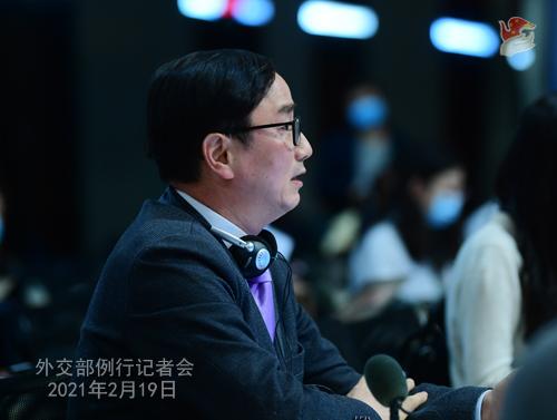 CHINE HUA PH 5 Conférence de presse du 19 février 2021 tenue par la porte-parole du Ministère des Affaires étrangères Hua Chunying