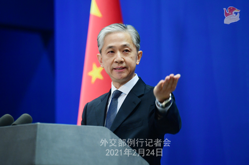 CHINE WW PH 12 Conférence de presse du 24 février 2021 tenue par le porte-parole du Ministère des Affaires étrangères Wang Wenbin
