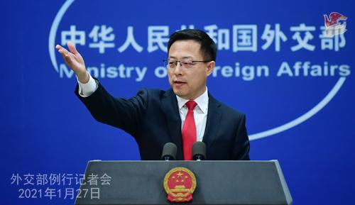 CHINE27 PH 1 SS 6 Conférence de presse du 27 janvier 2021 tenue par le porte-parole du Ministère des Affaires étrangères Zhao Lijian