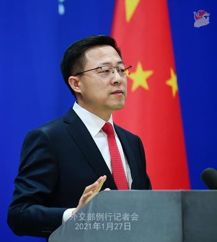 CHINE27 PH 2 SS 6 Conférence de presse du 27 janvier 2021 tenue par le porte-parole du Ministère des Affaires étrangères Zhao Lijian
