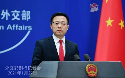 CHINE27 PH 3 SS 6 Conférence de presse du 27 janvier 2021 tenue par le porte-parole du Ministère des Affaires étrangères Zhao Lijian