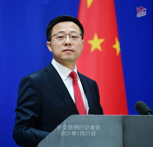 CHINE27 PH 4 SS 6 Conférence de presse du 27 janvier 2021 tenue par le porte-parole du Ministère des Affaires étrangères Zhao Lijian