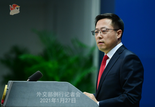 CHINE27 PH 5 SS 6 Conférence de presse du 27 janvier 2021 tenue par le porte-parole du Ministère des Affaires étrangères Zhao Lijian