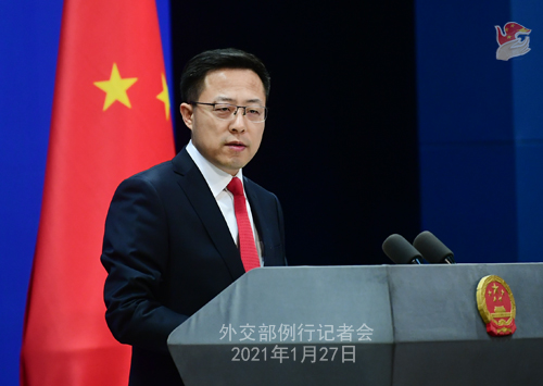 CHINE27 PH 6 SS 6 Conférence de presse du 27 janvier 2021 tenue par le porte-parole du Ministère des Affaires étrangères Zhao Lijian
