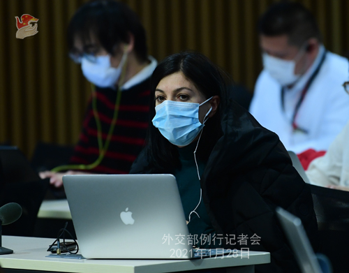 CHINE28 PHOTO 10 Conférence de presse du 28 janvier 2021 tenue par le porte-parole du Ministère des Affaires étrangères Zhao Lijian