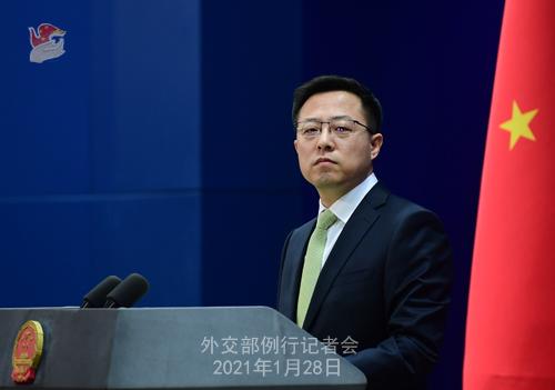 CHINE28 PHOTO 11 Conférence de presse du 28 janvier 2021 tenue par le porte-parole du Ministère des Affaires étrangères Zhao Lijian