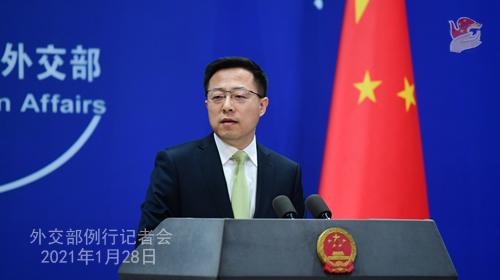 CHINE28 PHOTO 7 Conférence de presse du 28 janvier 2021 tenue par le porte-parole du Ministère des Affaires étrangères Zhao Lijian