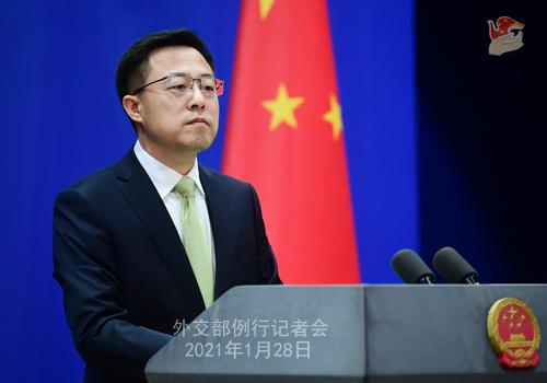 CHINE28 PHOTO 8 Conférence de presse du 28 janvier 2021 tenue par le porte-parole du Ministère des Affaires étrangères Zhao Lijian