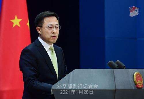 CHINE28 PHOTO 9 Conférence de presse du 28 janvier 2021 tenue par le porte-parole du Ministère des Affaires étrangères Zhao Lijian