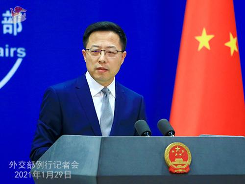 CHINE29 PHOTO 12 Conférence de presse du 29 janvier 2021 tenue par le porte-parole du Ministère des Affaires étrangères Zhao Lijian