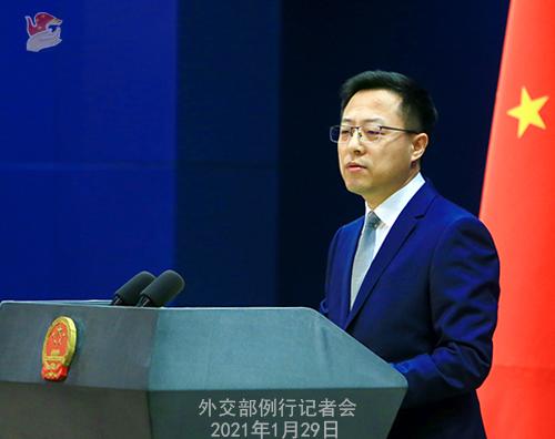 CHINE29 PHOTO 13 Conférence de presse du 29 janvier 2021 tenue par le porte-parole du Ministère des Affaires étrangères Zhao Lijian