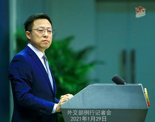 CHINE29 PHOTO 14 Conférence de presse du 29 janvier 2021 tenue par le porte-parole du Ministère des Affaires étrangères Zhao Lijian