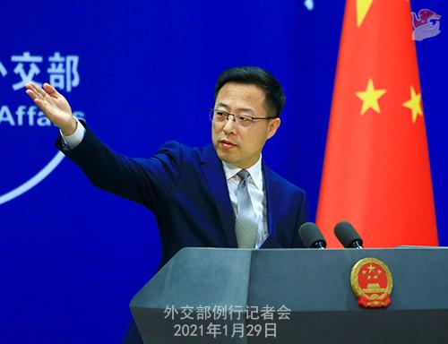 CHINE29 PHOTO 15 Conférence de presse du 29 janvier 2021 tenue par le porte-parole du Ministère des Affaires étrangères Zhao Lijian
