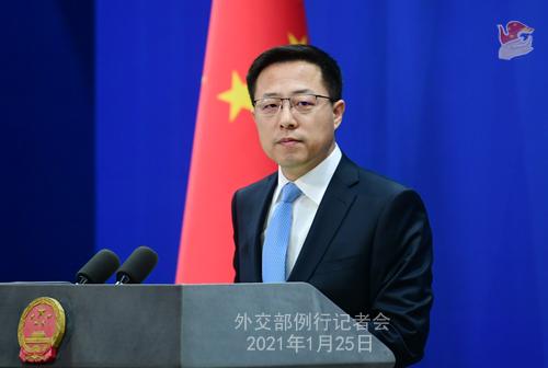 Conférence 25.01 PH 2 ZZ 6 de presse du 25 janvier 2021 tenue par le porte-parole du Ministère des Affaires étrangères Zhao Lijian