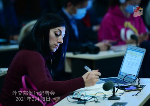 HUA CHUNYING PH 13 Conférence de presse du 18 février 2021 tenue par la porte-parole du Ministère des Affaires étrangères Hua Chunying