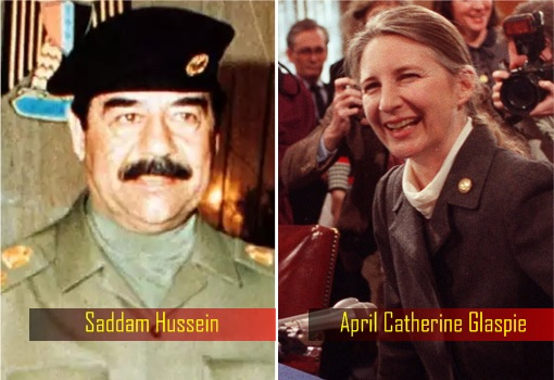 Iraq-President-Saddam-Hussein-and-US-Ambassador-to-Iraq-April-Catherine-Glaspie