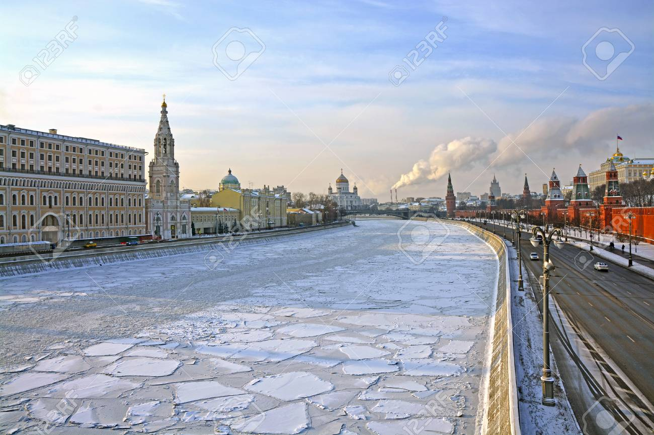 View on Moscow river and Moscow Kremlin in winter. Moscow, Russi
