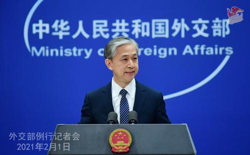 PEKIN 01 Conférence de presse du 1er février 2021 tenue par le porte-parole du Ministère des Affaires étrangères Wang Wenbin