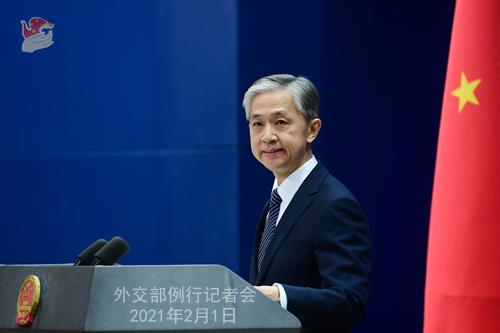 PEKIN 02 Conférence de presse du 1er février 2021 tenue par le porte-parole du Ministère des Affaires étrangères Wang Wenbin