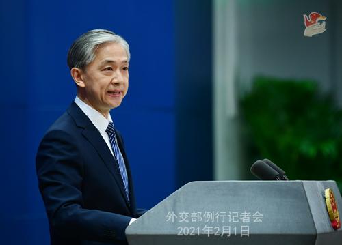 PEKIN 03 Conférence de presse du 1er février 2021 tenue par le porte-parole du Ministère des Affaires étrangères Wang Wenbin