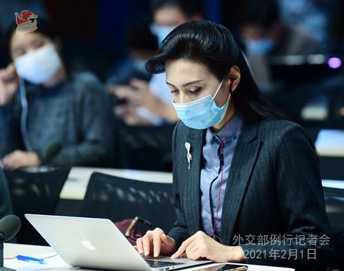 PEKIN 05 Conférence de presse du 1er février 2021 tenue par le porte-parole du Ministère des Affaires étrangères Wang Wenbin