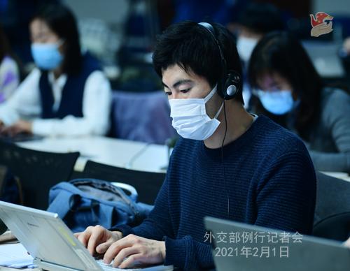 PEKIN 06 Conférence de presse du 1er février 2021 tenue par le porte-parole du Ministère des Affaires étrangères Wang Wenbin