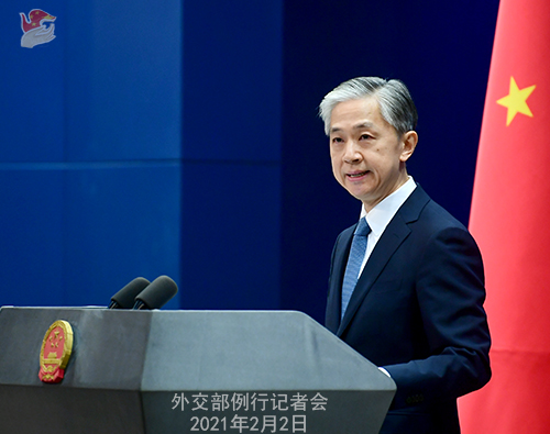 PEKIN 07 Conférence de presse du 2 février 2021 tenue par le porte-parole du Ministère des Affaires étrangères Wang Wenbin