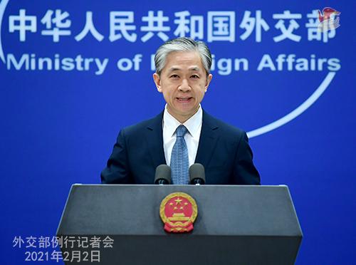 PEKIN 08 Conférence de presse du 2 février 2021 tenue par le porte-parole du Ministère des Affaires étrangères Wang Wenbin